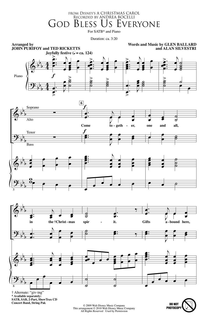 Andrea Bocelli: God Bless Us Everyone: Mixed Choir: Backing Tracks