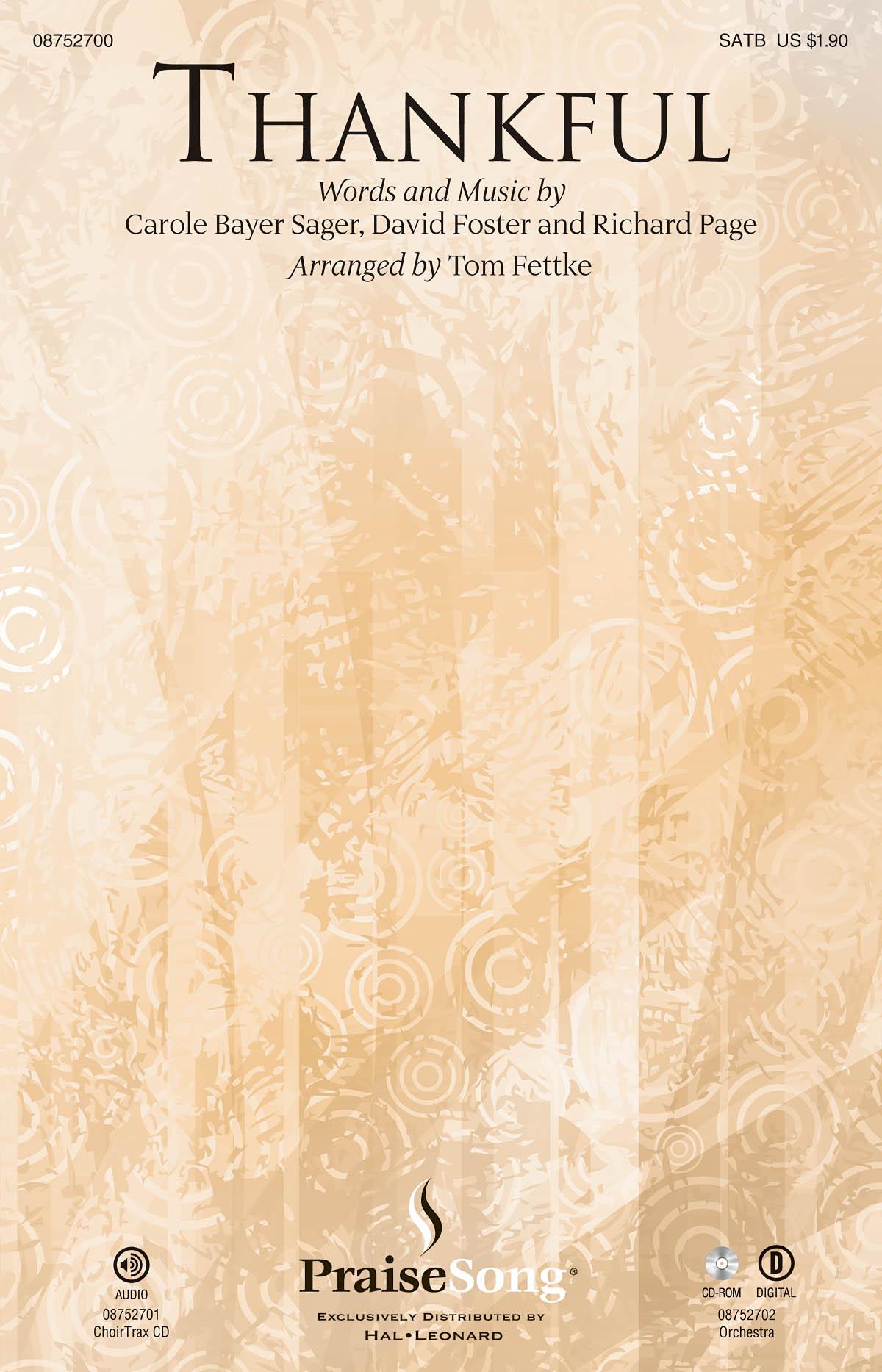 Carole Bayer Sager David Foster Richard Page: Thankful: SATB: Vocal Score