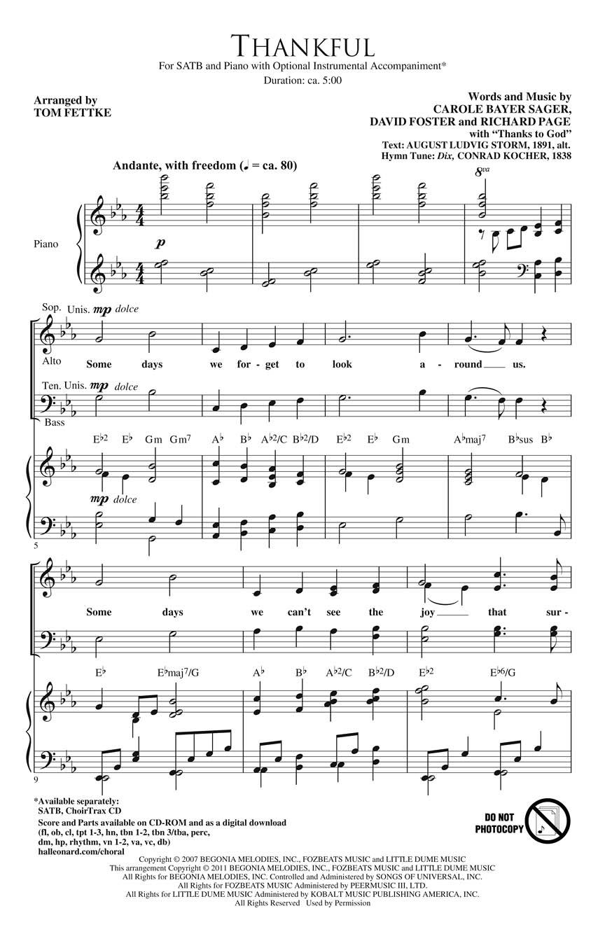 Carole Bayer Sager David Foster Richard Page: Thankful: Orchestra: Parts