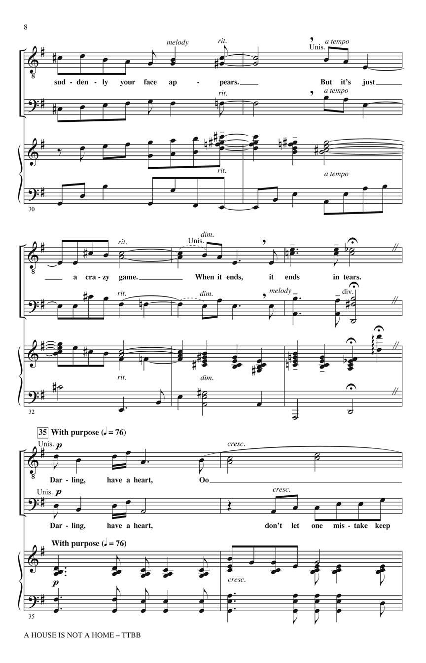 Burt Bacharach: A House Is Not a Home: TTBB: Vocal Score