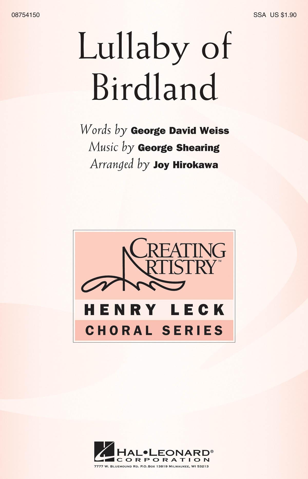 George Shearing: Lullaby of Birdland: SSA: Vocal Score