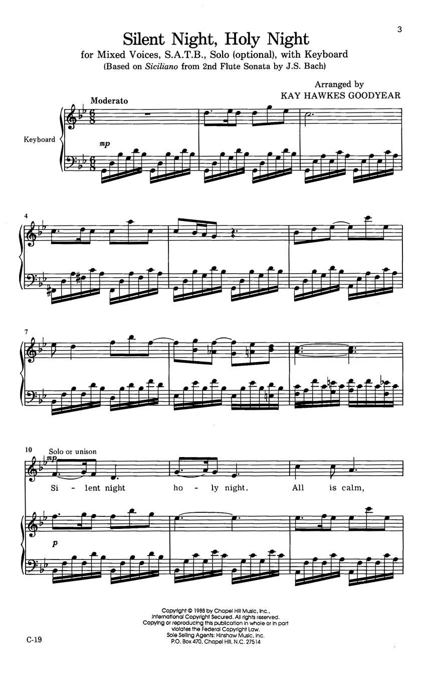 Franz Xaver Gruber: Silent Night  Holy Night: SATB: Vocal Score