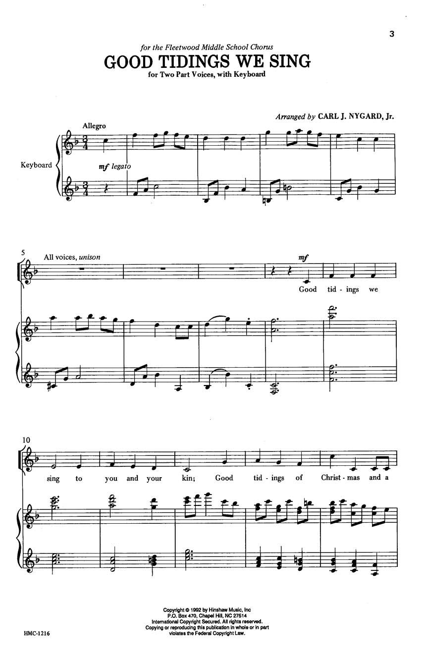 Good Tidings We Sing: 2-Part Choir: Vocal Score