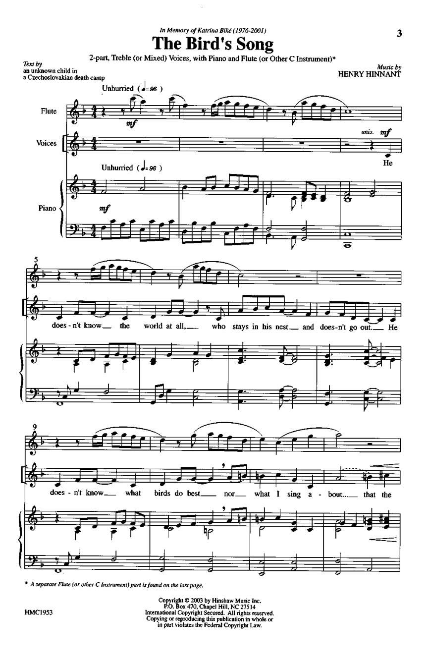 Henry Hinnant: The Bird's Song: 2-Part Choir: Vocal Score