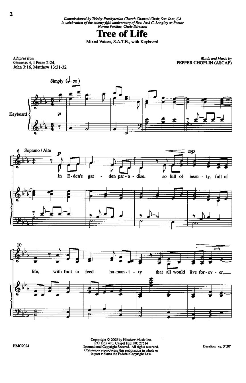 Pepper Choplin: Tree Of Life: SATB: Vocal Score
