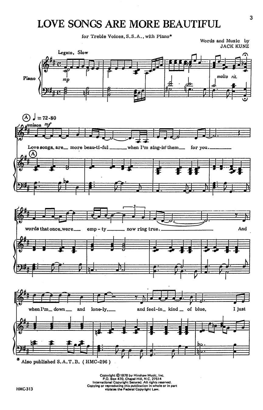 Jack Kunz: Love Songs Are More Beautiful: SSA: Vocal Score