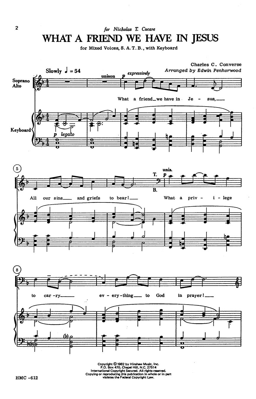 Charles C. Converse: What a Friend We Have in Jesus: SATB: Vocal Score