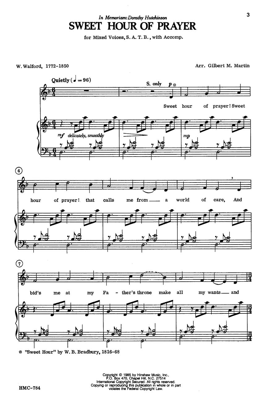 William B. Bradbury: Sweet Hour Of Prayer: SATB: Vocal Score