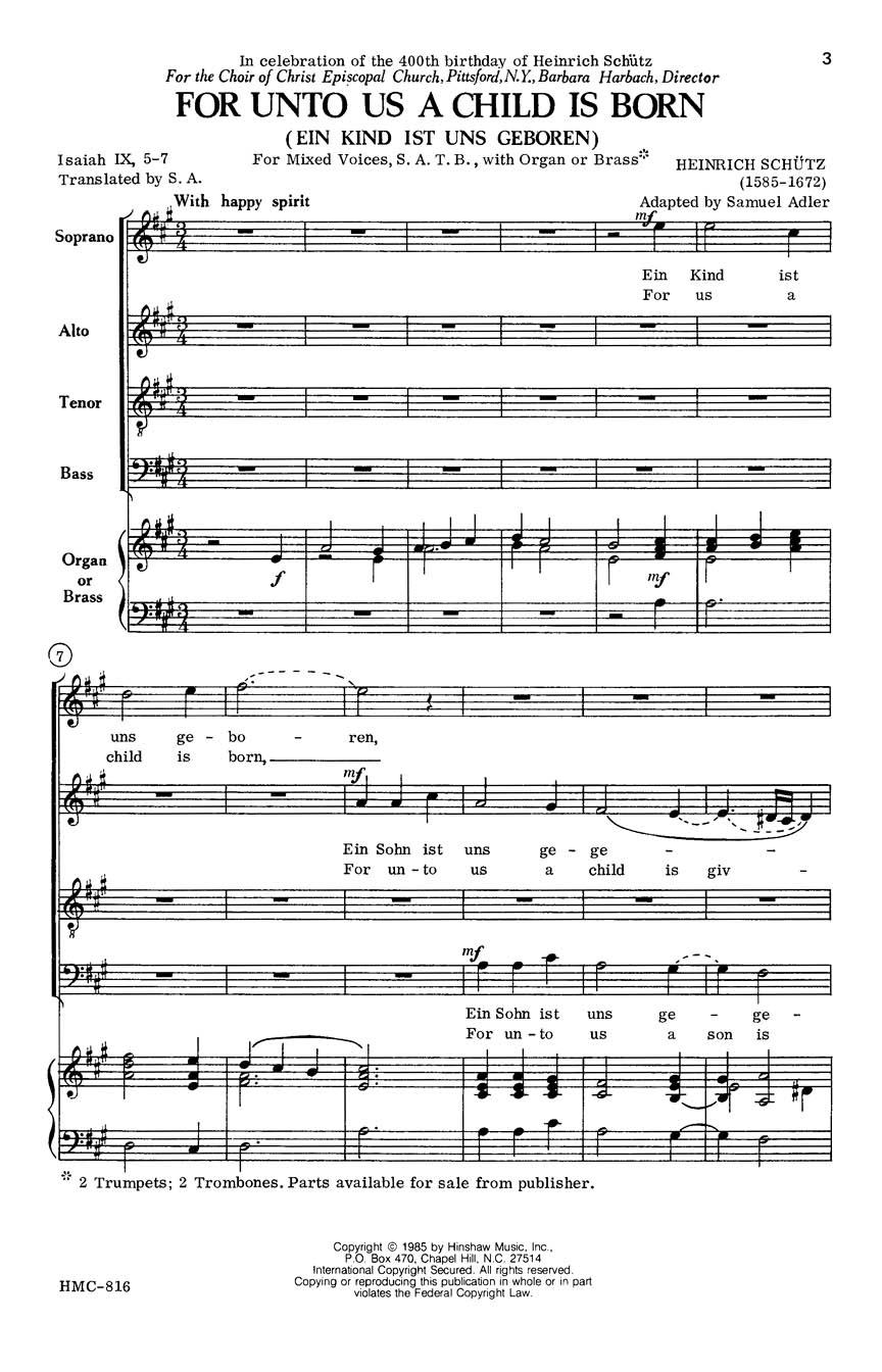 Heinrich Schütz: For Unto Us A Child Is Born: SATB: Vocal Score