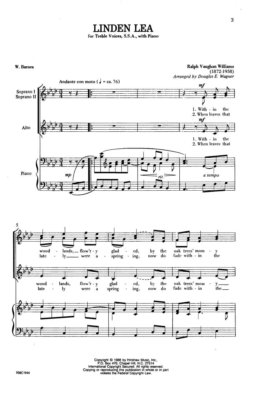 Ralph Vaughan Williams: Linden Lea: SSA: Vocal Score