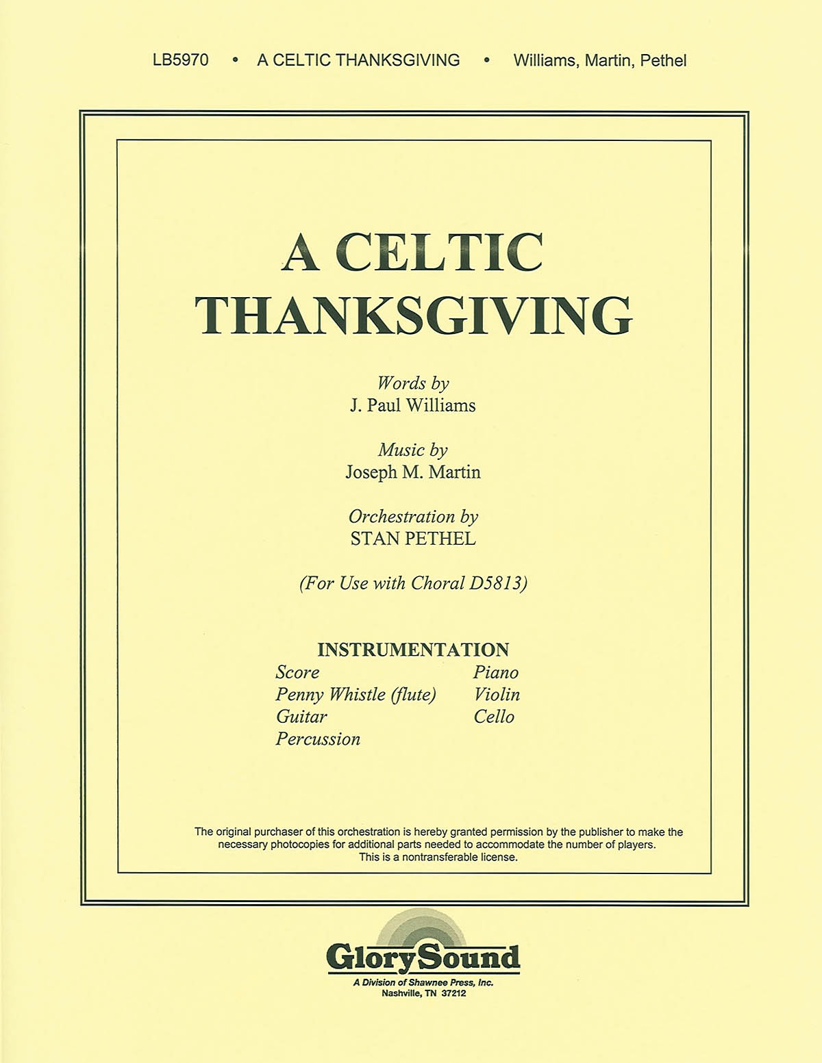 J. Paul Williams Joseph Martin: A Celtic Thanksgiving: Orchestra: Parts