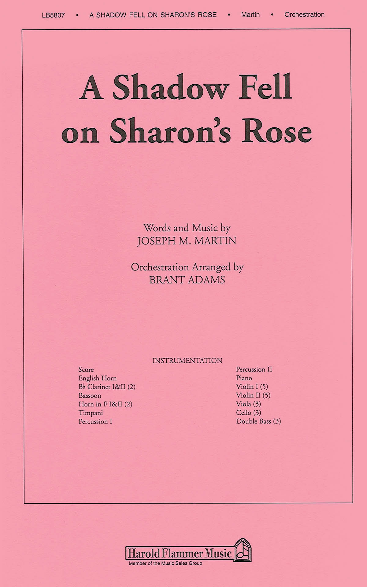 Joseph M. Martin: A Shadow Fell on Sharon's Rose: Orchestra: Parts