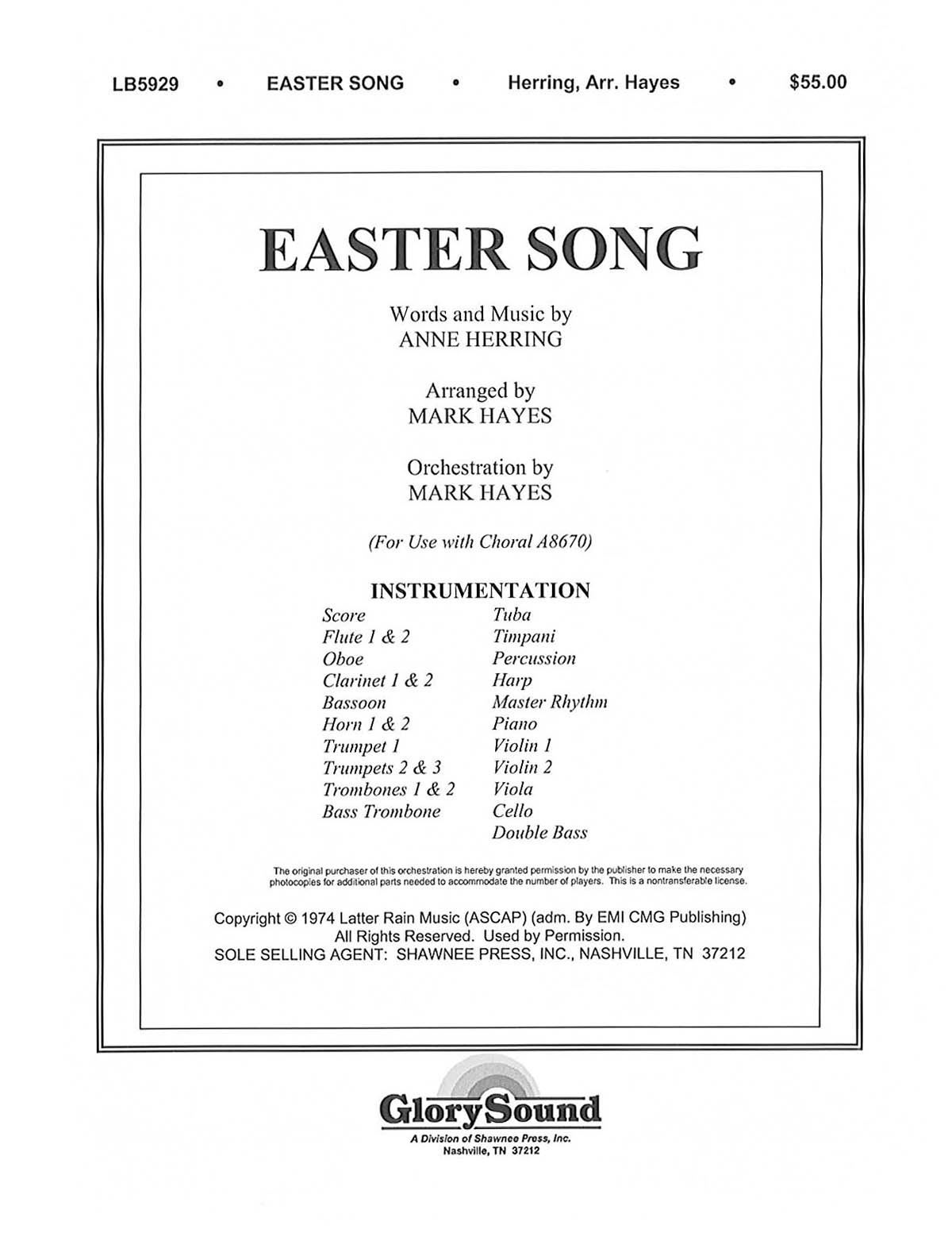 Anne Herring: Easter Song: Orchestra: Parts