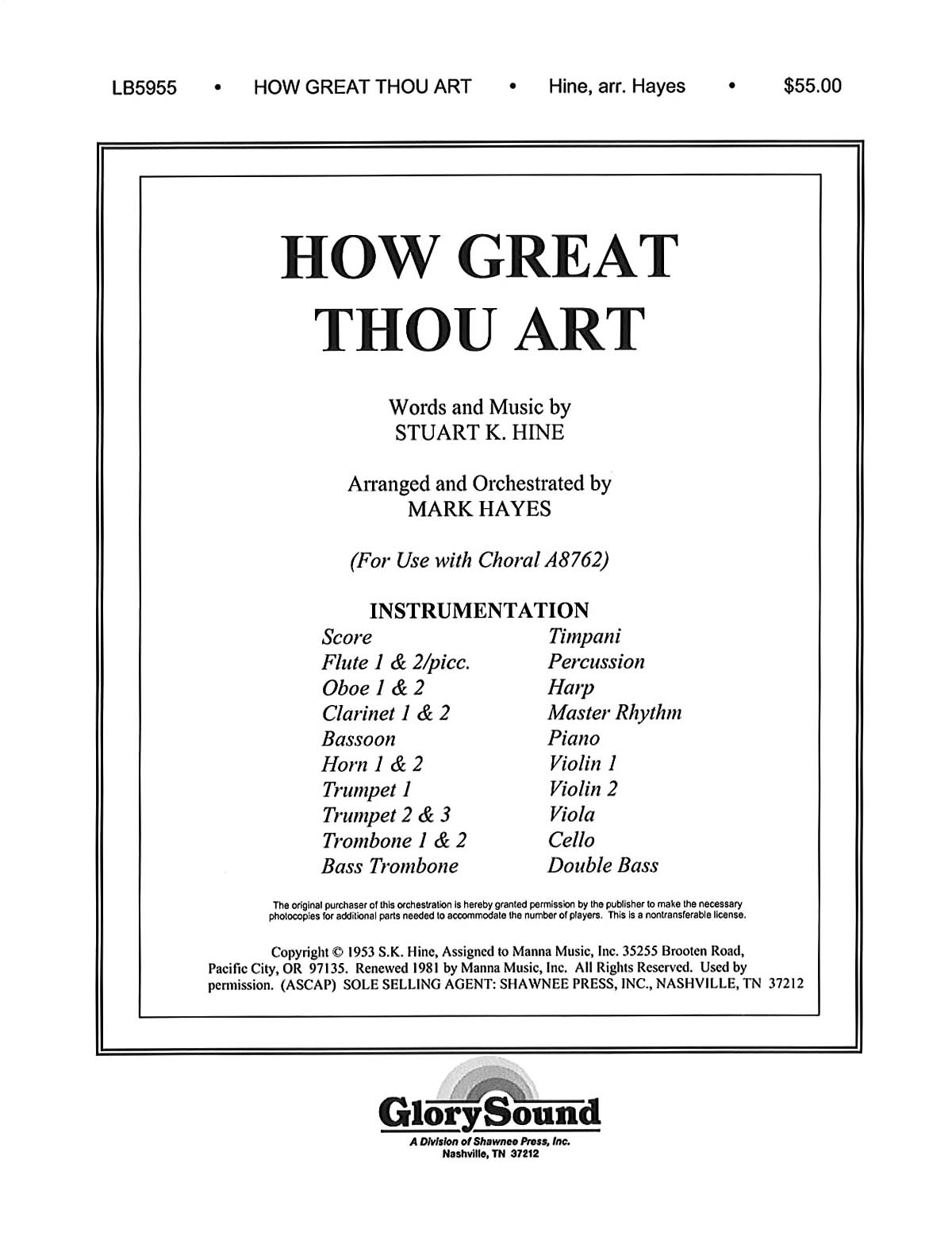 How Great Thou Art: Orchestra: Parts