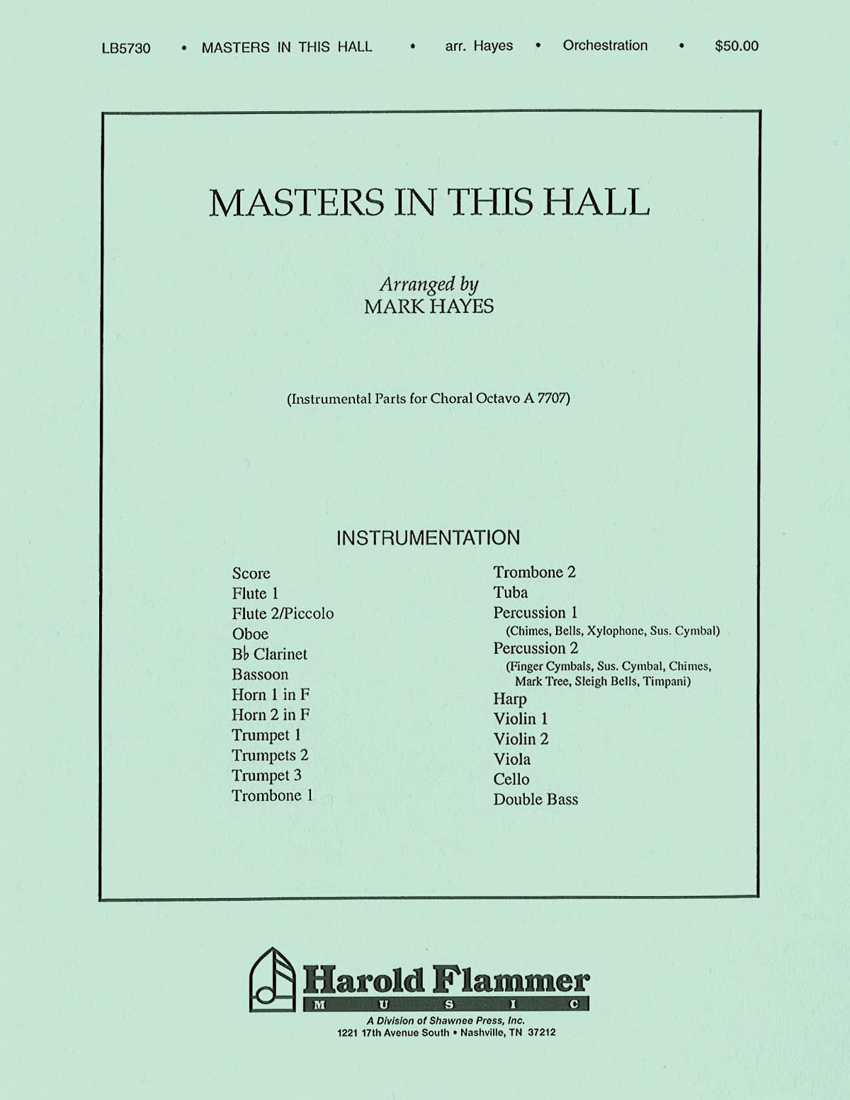Gustav Holst: Masters in This Hall: Orchestra: Parts