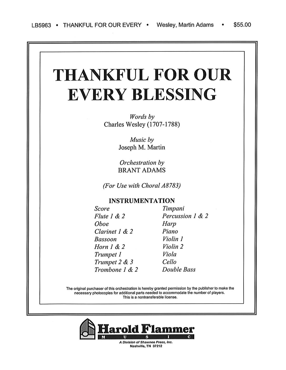 Joseph M. Martin: Thankful for Our Every Blessing: Orchestra: Parts