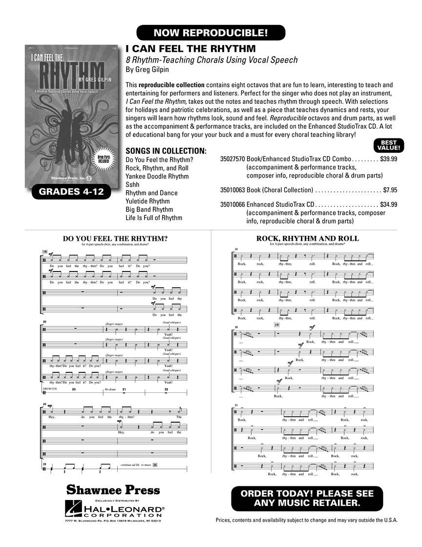 Greg Gilpin: I Can Feel The Rhythm: Mixed Choir: Backing Tracks