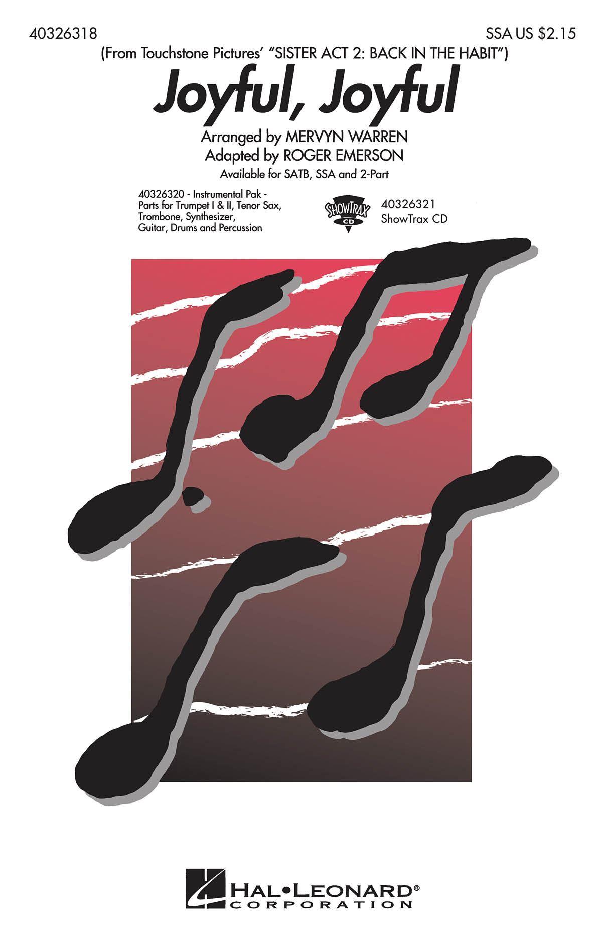Ludwig van Beethoven: Joyful  joyful: SSA: Vocal Score
