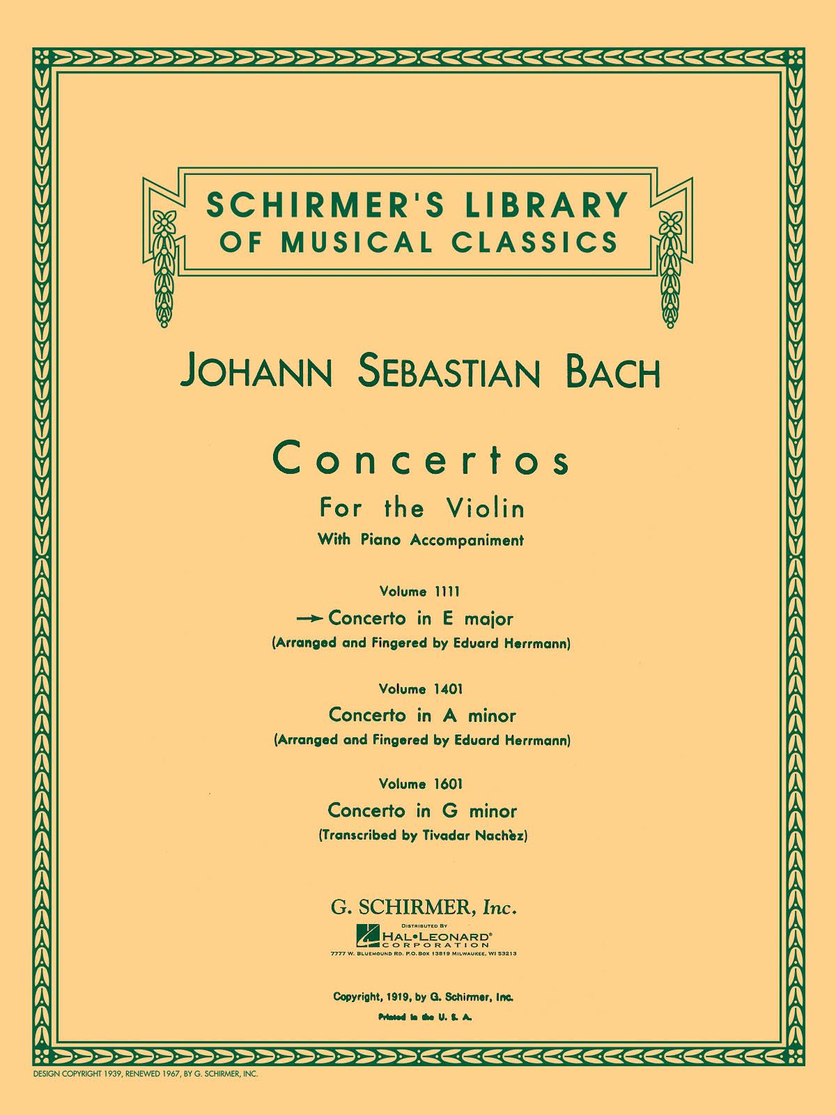 Johann Sebastian Bach: Violin Concerto In E Major: Violin: Instrumental Work