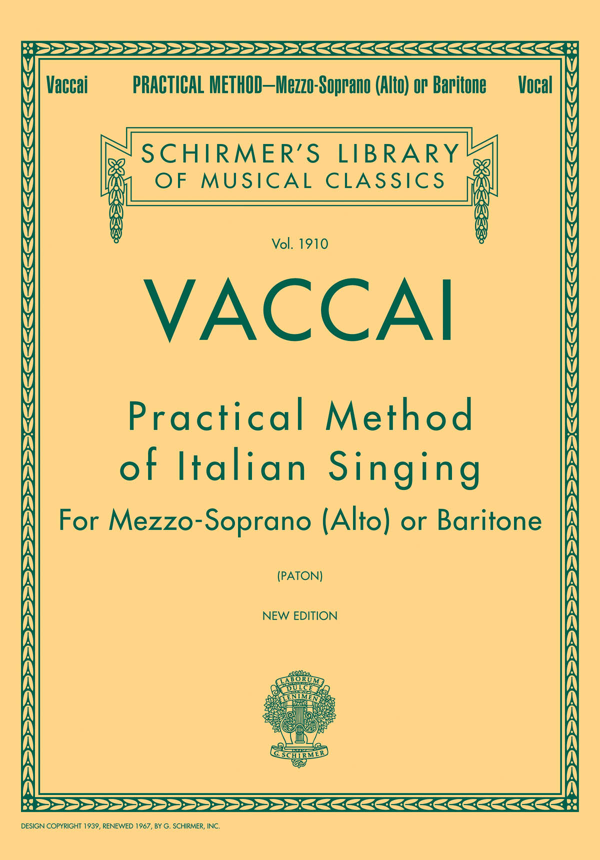Nicola Vaccai: Practical Method of Italian Singing: Vocal: Vocal Score