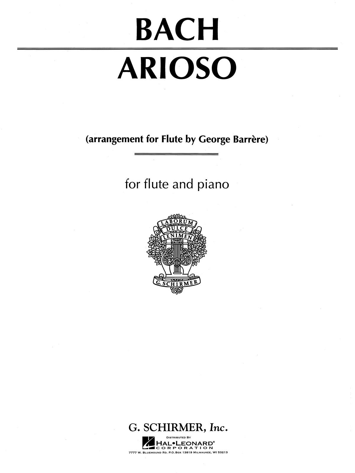 Johann Sebastian Bach: Arioso: Flute: Instrumental Work