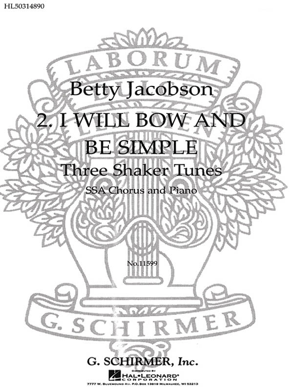 I Will Bow And Be Simple Treble With Piano: Tenor: Vocal Score