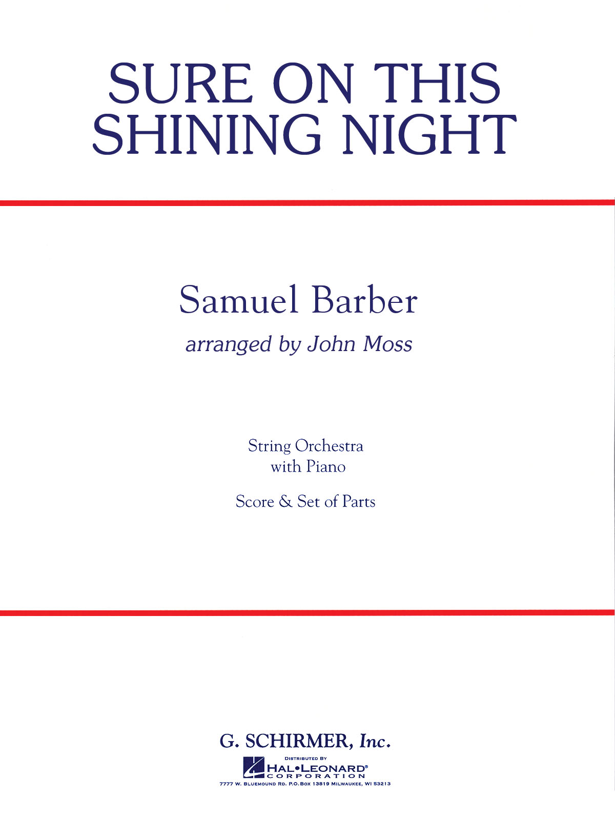 Samuel Barber: Sure On This Shining Night: String Orchestra: Score