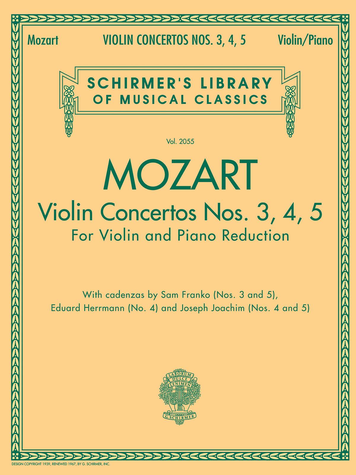 Wolfgang Amadeus Mozart: Violin Concertos Nos. 3  4  5: Violin: Instrumental