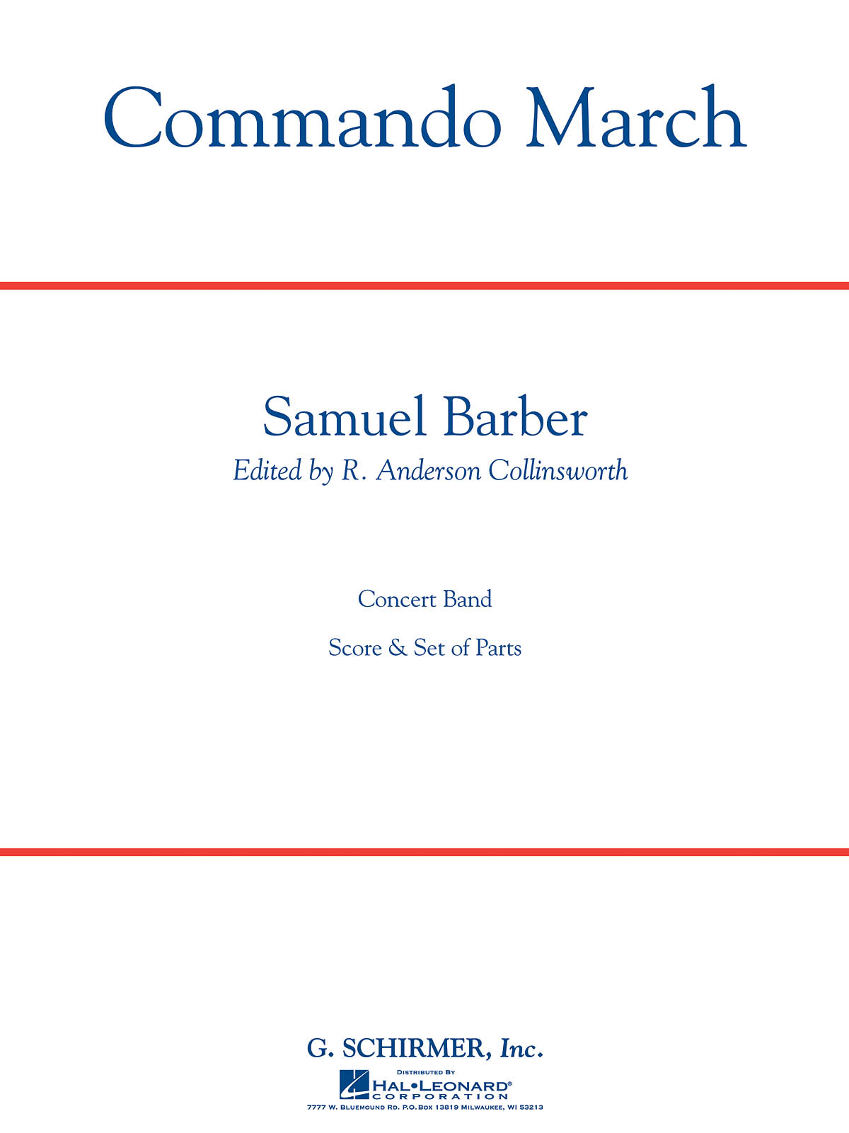 Samuel Barber: Commando March Sc/Pts: Concert Band: Score and Parts