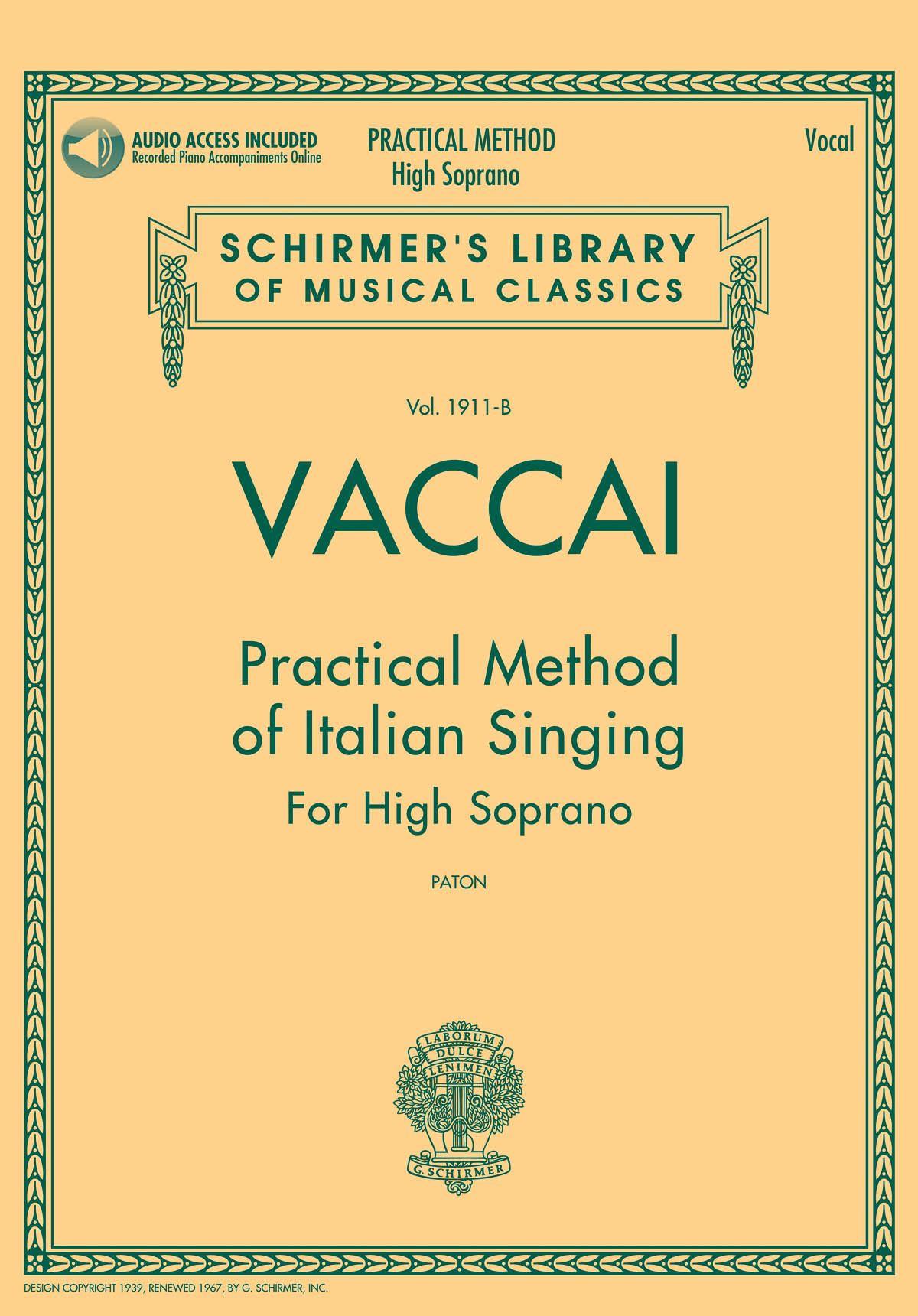 Nicola Vaccai: Vaccai: Practical Method of Italian Singing: Soprano: Vocal Tutor