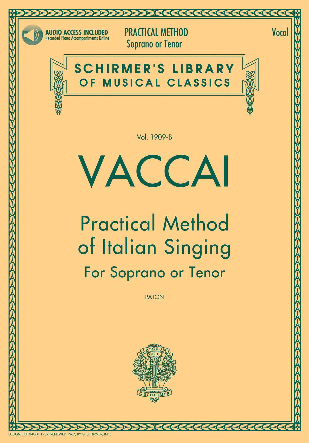 Nicola Vaccai: Practical Method of Italian Singing: Soprano or Tenor:
