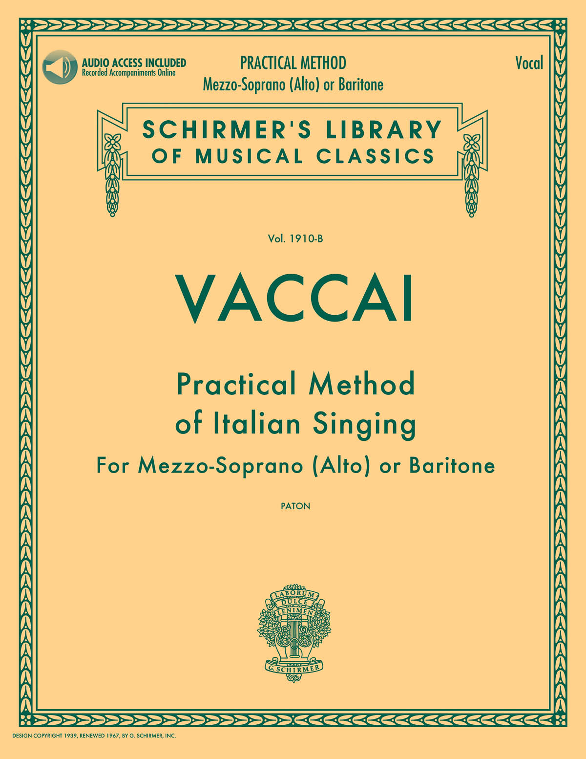 Nicola Vaccai: Practical Method of Italian Singing: Vocal: Instrumental Tutor