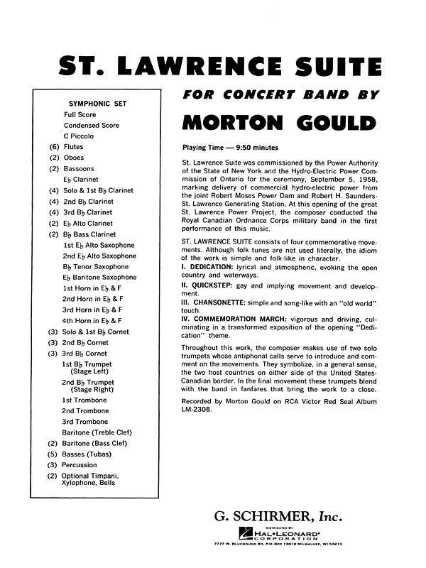 Morton Gould: St. Lawrence Suite: Concert Band: Score