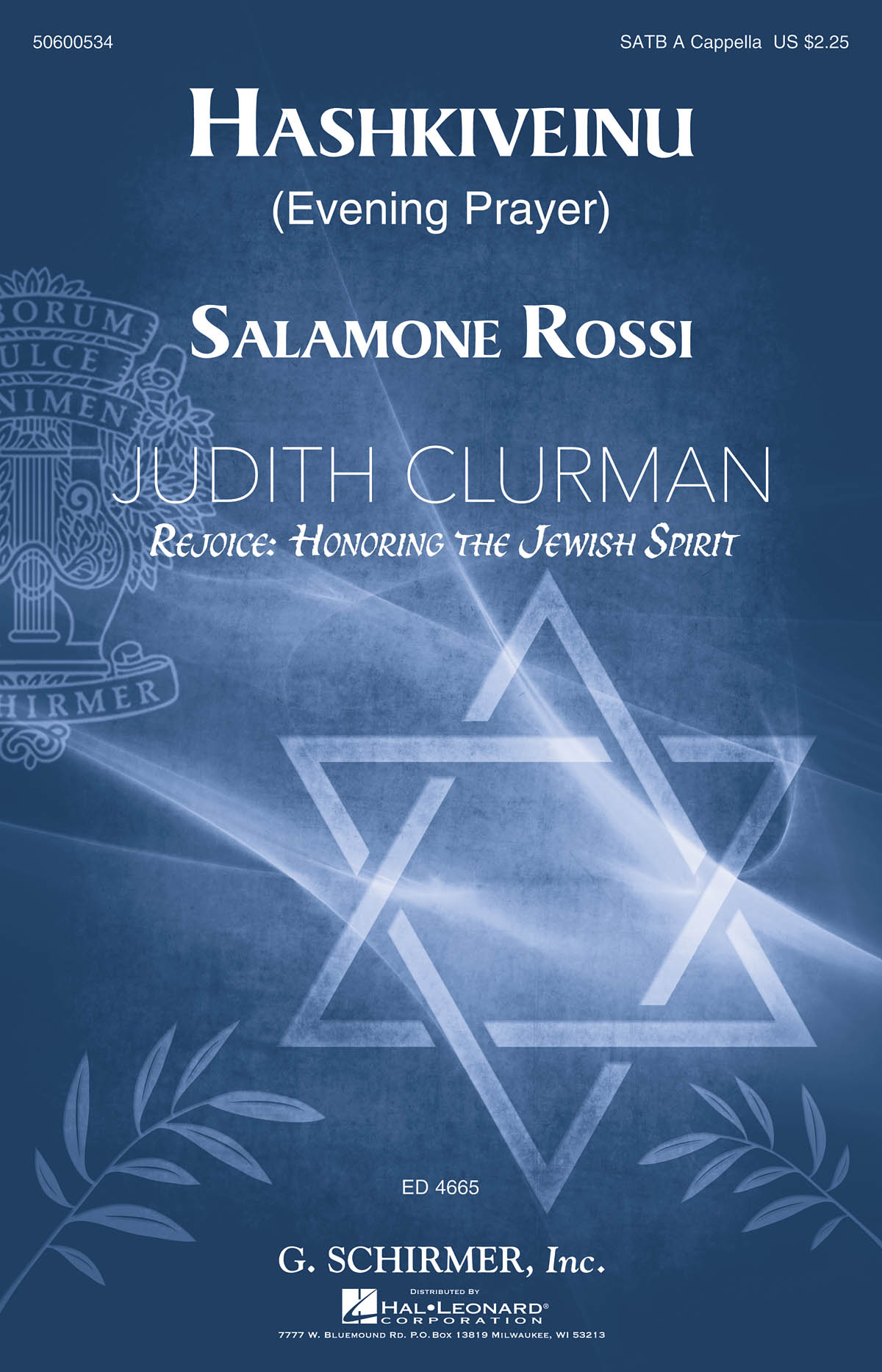 Salamone Rossi: Hashkiveinu (Evening Prayer): SATB: Vocal Score