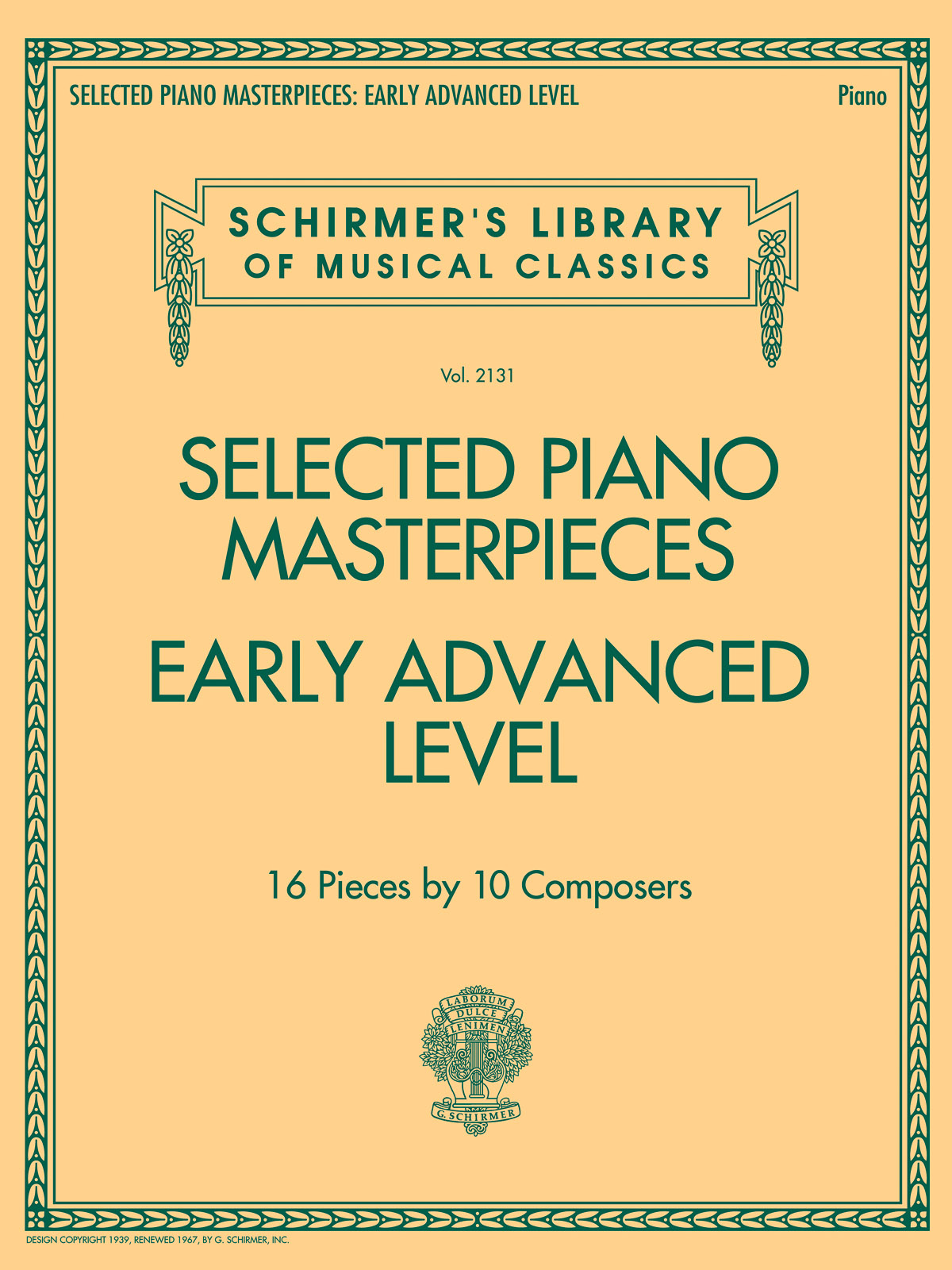 Selected Piano Masterpieces - Early Advanced Level: Piano: Mixed Songbook