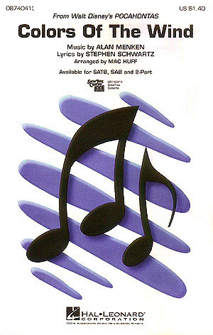 Alan Menken Stephen Schwartz: Colors Of The Wind: SATB: Vocal Score