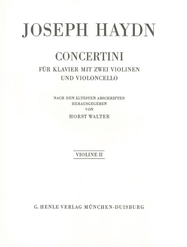 Franz Joseph Haydn: Concertini For Piano: Violin: Part
