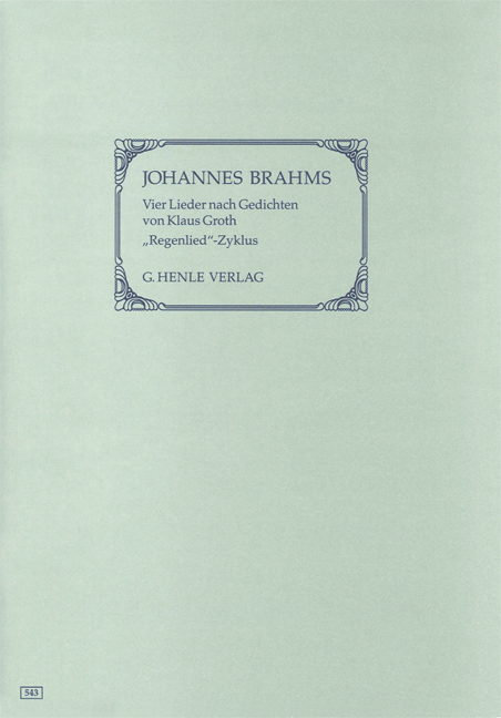 Johannes Brahms: Four Songs with Lyrics by Klaus Groth 1st Edition: Voice: Vocal
