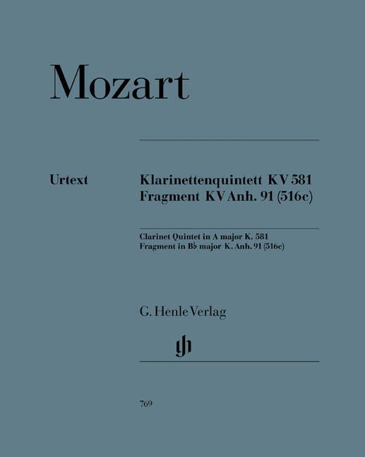 Wolfgang Amadeus Mozart: Klarinettenquintett KV.581 Fragment KV.Anh.91: Wind