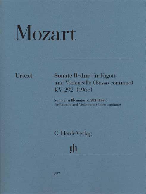 Wolfgang Amadeus Mozart: Sonata In B Flat K.292: Bassoon: Score and Parts