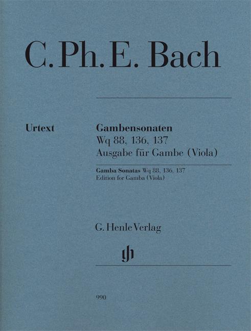 Carl Philipp Emanuel Bach: Gambensonaten Wq 88  136  137: Viola da Gamba: