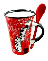 Little Snoring Gifts: Cappuccino Mug With Spoon – Violin (Black)
