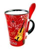 Little Snoring Gifts: Cappuccino Mug With Spoon – Saxophone (Red)