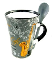 Little Snoring Gifts: Cappuccino Mug With Spoon – Violin (Red)