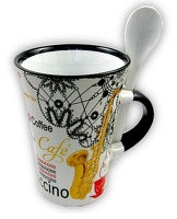 Little Snoring Gifts: Cappuccino Mug With Spoon – Saxophone (White)