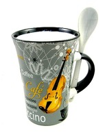 Little Snoring Gifts: Cappuccino Mug With Spoon – Saxophone (Grey)