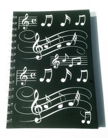 Little Snoring Gifts: A5 Hardback Spiral Bound Notebook – Black With White Musical Notes
