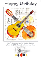 Little Snoring Gifts: 7x5 Happy Birthday Card - Guitar Design