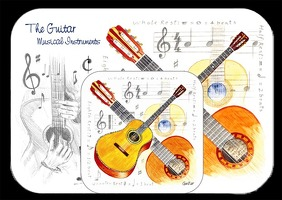 Little Snoring Gifts: Placemat And Coaster Set - Guitar