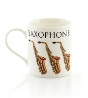 Little Snoring Cards & Gifts Music Word Mug Saxophone  Bone China  Multi-Colour  12 x 10 x 9 cm